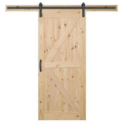 36 in. x 84 in. K-Bar Knotty Pine Wood Interior Sliding Barn Door Slab with Hardware Kit