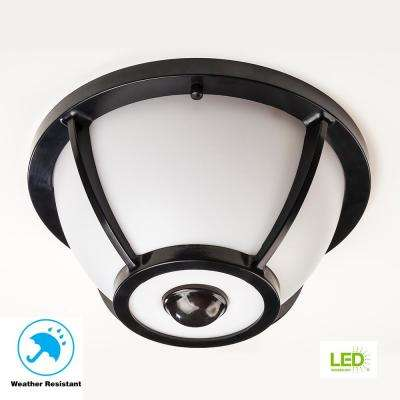 360 Degree Matte Black Round Integrated LED Motion Sensing Outdoor Flush Mount