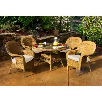 Sea Pines Mojave 5-Piece Wicker Outdoor Dining Set with Sunbrella Canvas Cushions