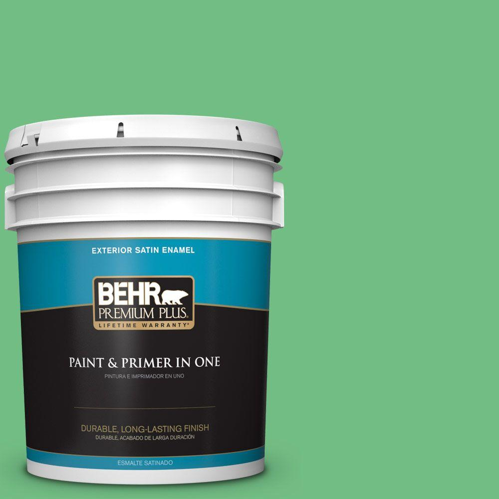 BEHR Premium Plus 5-gal. #P400-5 Winter Shamrock Satin Enamel Exterior Paint