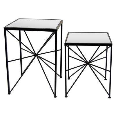 15.75 in. x 15.75 in. Black Metal/ Mirror Table (Set of 2)