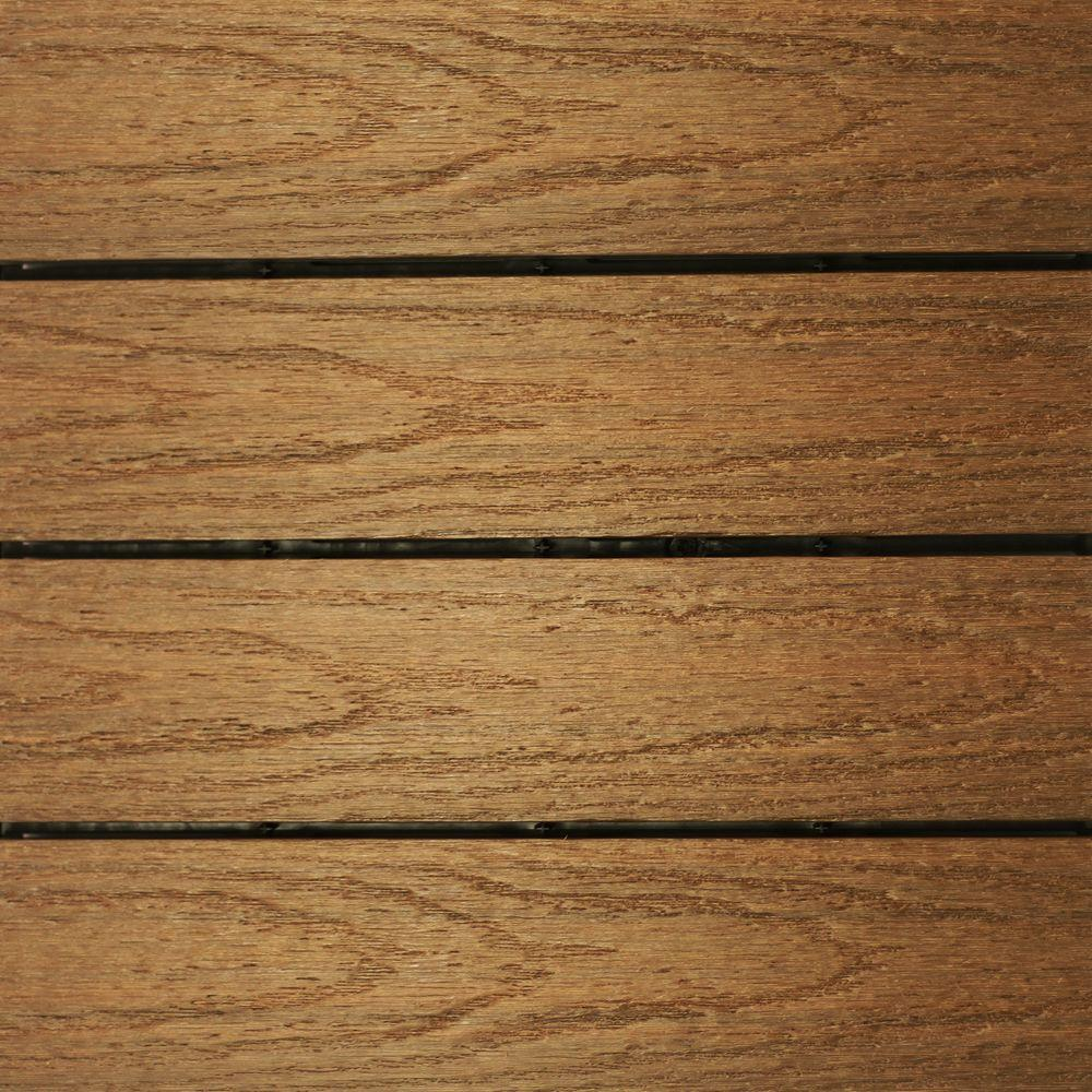 NewTechWood UltraShield Naturale 1 ft. x 1 ft. Quick Deck Outdoor Composite Deck Tile in Peruvian Teak (10 sq. ft. Per Box)
