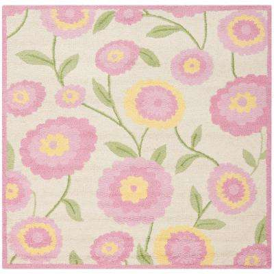 Kids Ivory/Pink 5 ft. x 5 ft. Square Area Rug