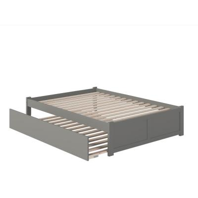 Concord Full Platform Bed with Flat Panel Foot Board and Full Size Urban Trundle Bed in Grey