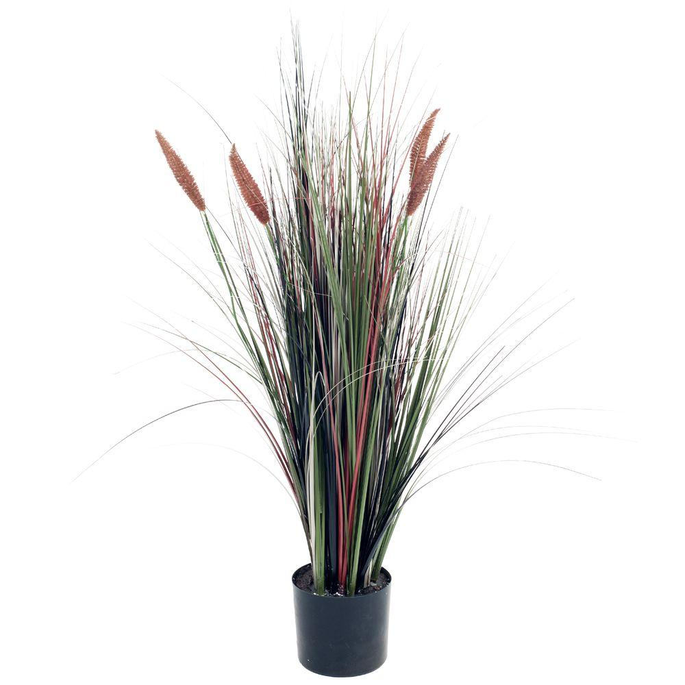 Romano 4 ft ornamental artificial tall cattail grass 50 for Ornamental grasses that stay green all year