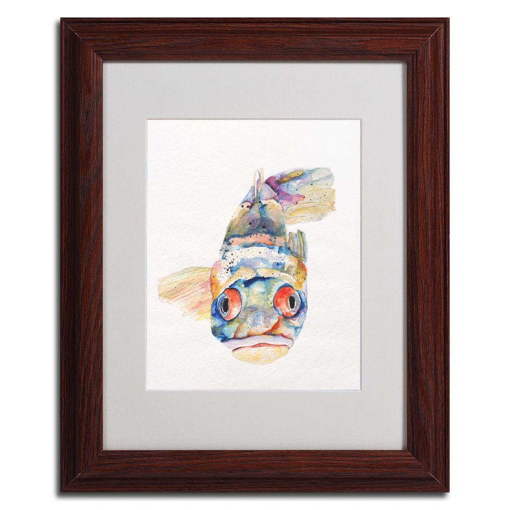 16 in. x 20 in. Blue Fish Dark Wooden Framed Matted