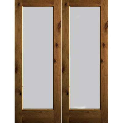 60 in. x 80 in. Rustic Knotty Alder Wood Full-Lite Satin Etch Provincial Stain Left Active Double Prehung Front Door