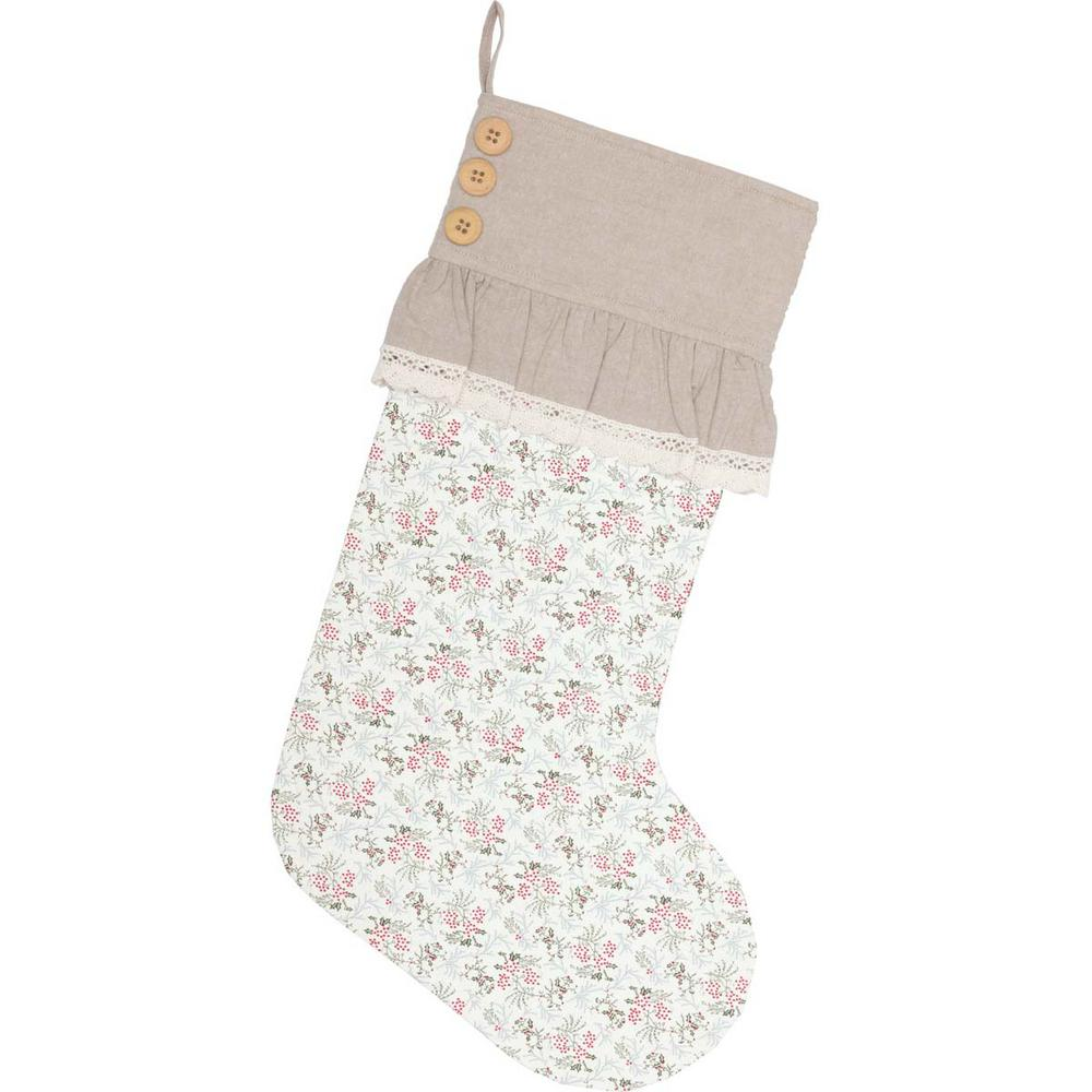 20 in. Cotton Carol Creme White Farmhouse Christmas Decor Floral Stocking
