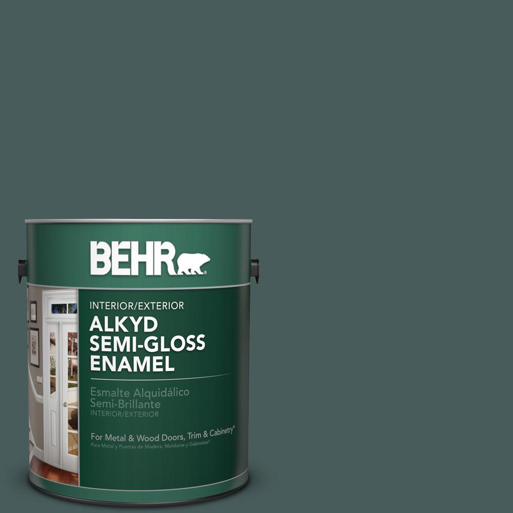 1 gal. #N430-7 Silken Pine Semi-Gloss Enamel Alkyd Interior/Exterior Paint