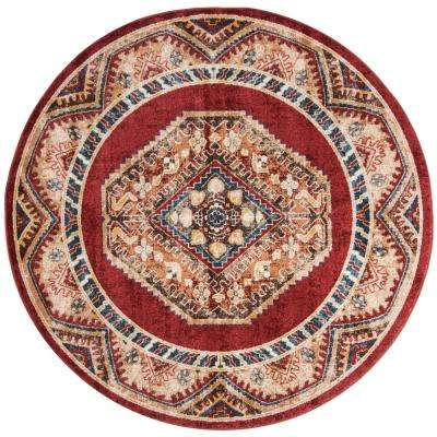 Bijar Red/Rust 6 ft. 7 in. x 6 ft. 7 in. Round Area Rug