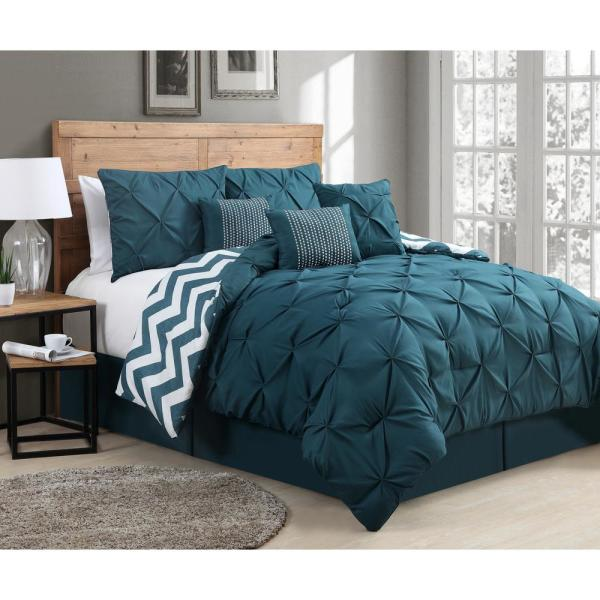 Avondale Manor Venice Pinch Pleat 7-Piece Teal Queen Comforter Set