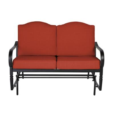 Laurel Oaks Dark Brown Steel Outdoor Patio Glider with CushionGuard Quarry Red Cushions