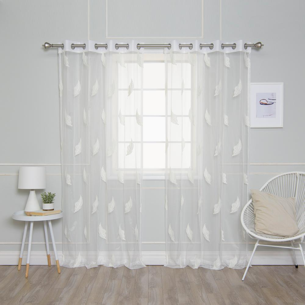 L Sheer Embroidered Leaf Curtains 2 Pack