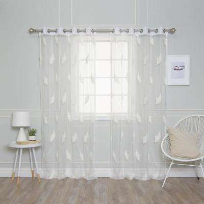 84 in. L Sheer Embroidered Leaf Curtains (2-Pack)