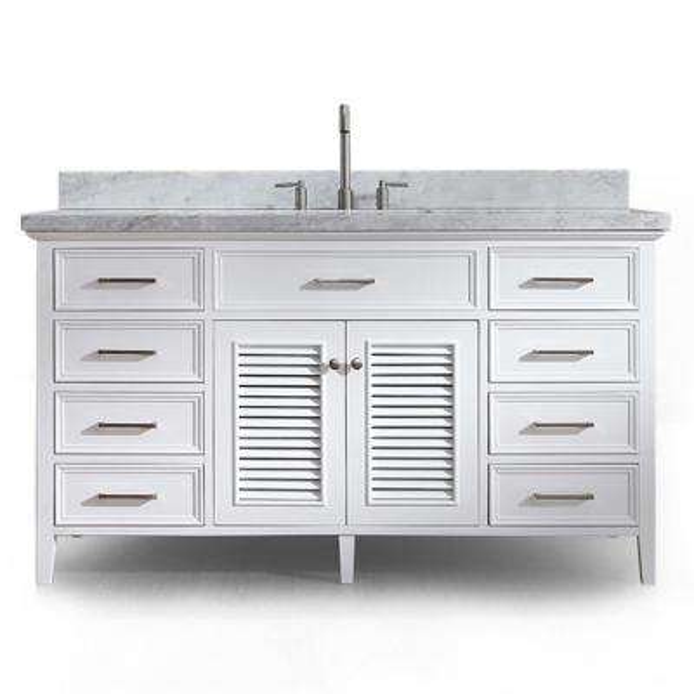 Kensington 61 in. Bath Vanity in White with Marble Vanity Top in Carrara White with White Basin