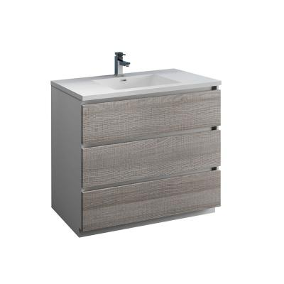 Lazzaro 40 in. Modern Bathroom Vanity in Glossy Ash Gray with Vanity Top in White with White Basin