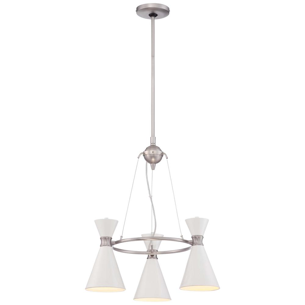 Conic 3-Light Brushed Nickel Mini Chandelier with Glitter Gloss White Shade