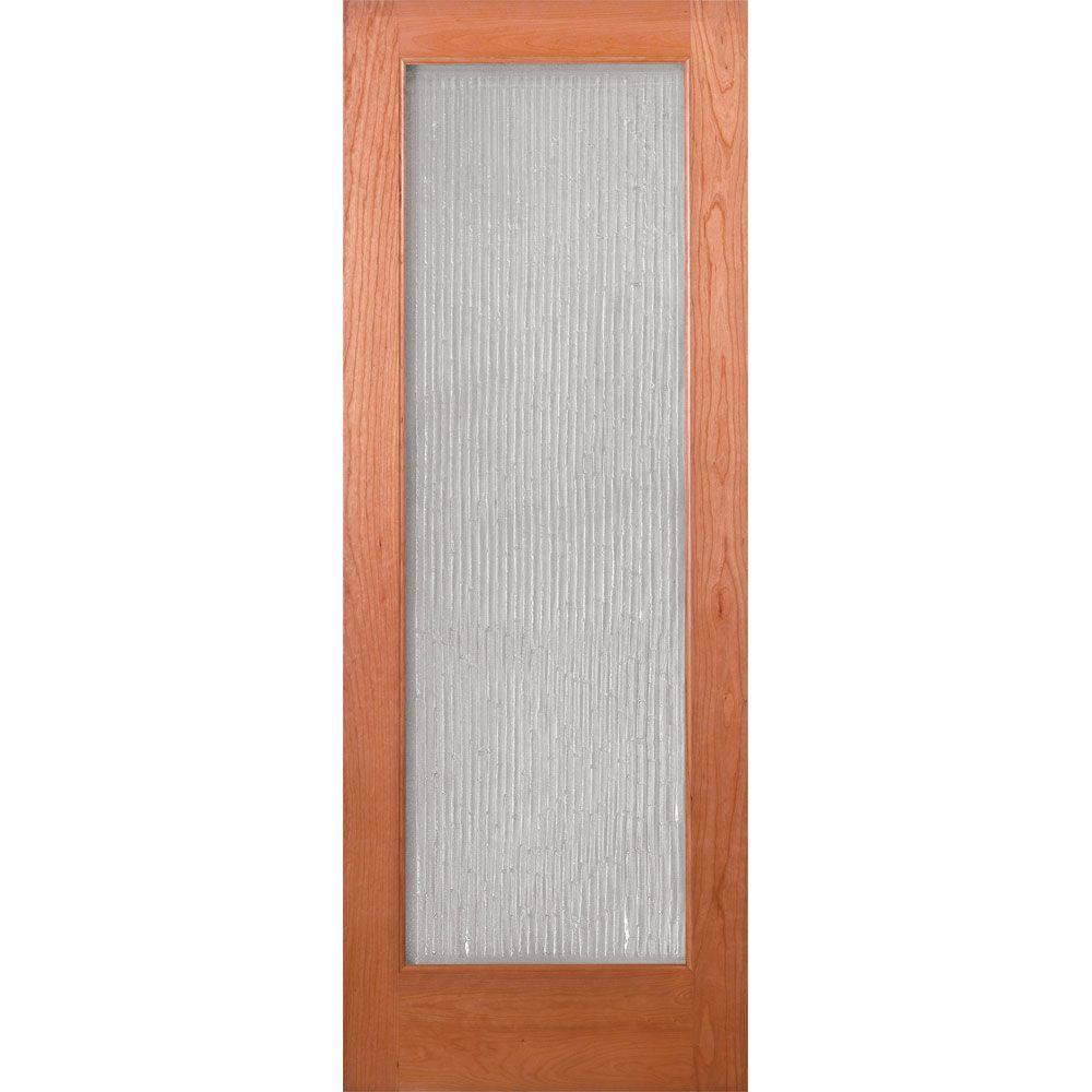 Feather River Doors 28 in. x 80 in. Bamboo Casting Woodgrain 1 Lite Unfinished Cherry Interior Door Slab