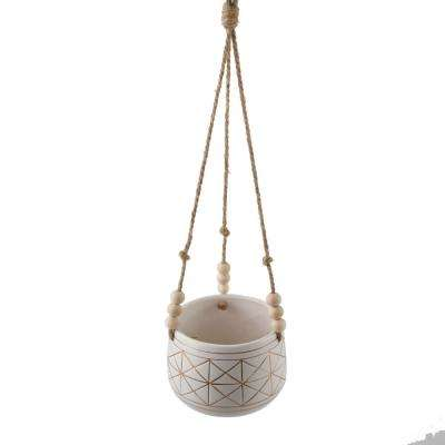 6 in. White/Gold Line Geometric Ceramic Hanging Planter with Beads