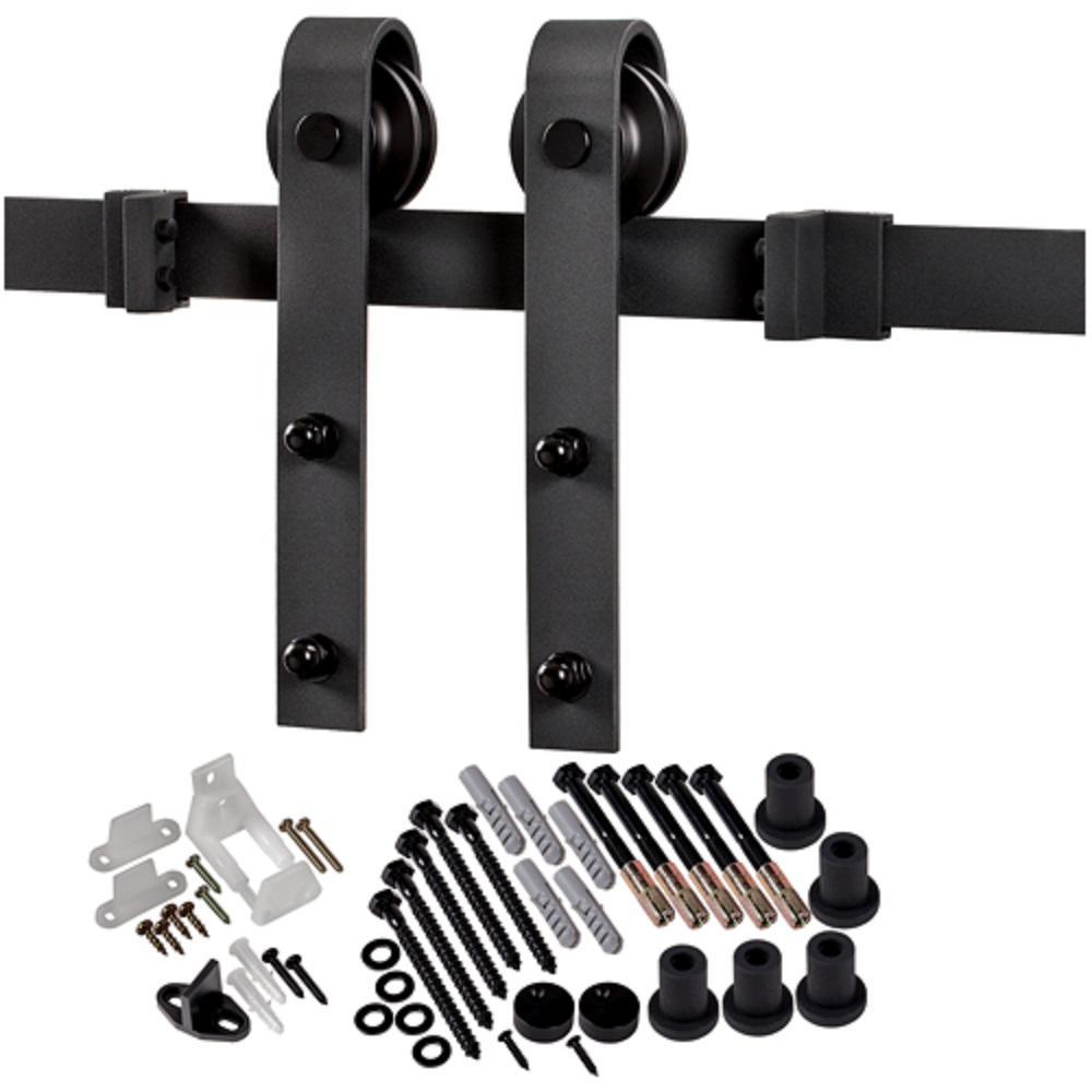 78-3/4 in. Matte Black Bent Strap Barn Door Hardware Kit