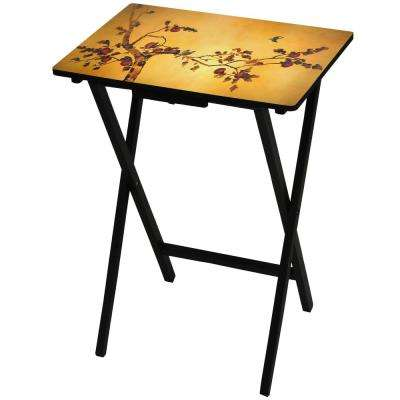 Oriental Furniture 19 in. x 13.75 in. Plum Blossom TV Tray in Gold