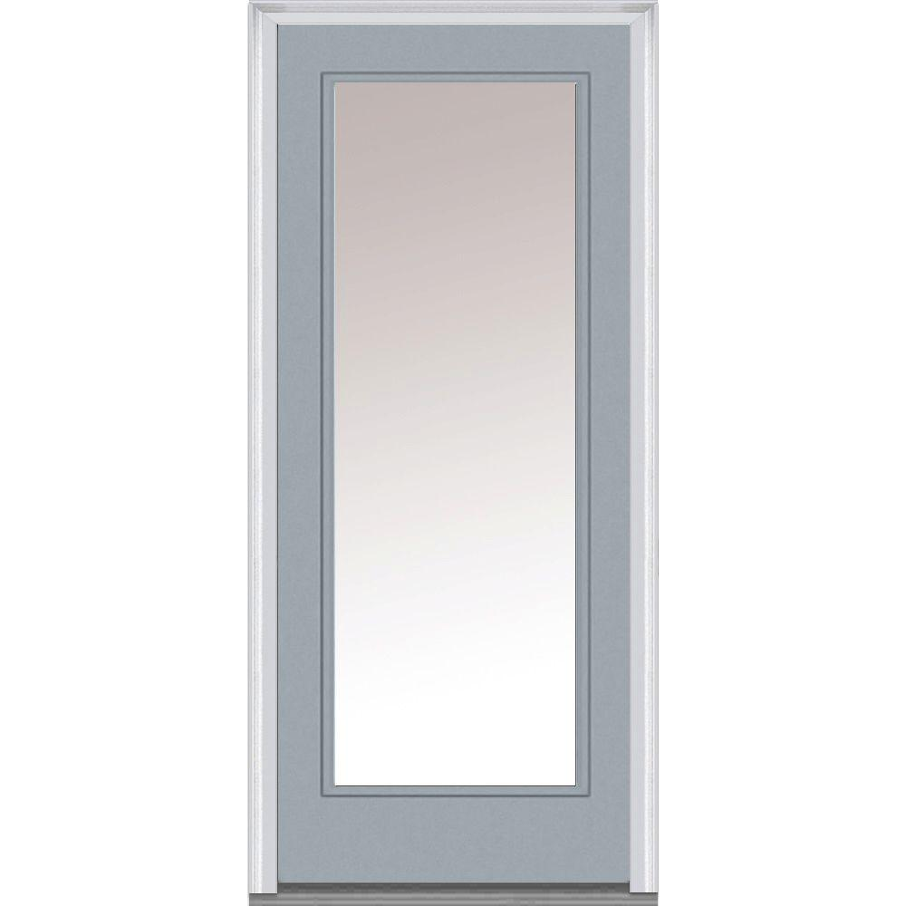 Mmi door 30 in x 80 in clear glass left hand full lite for Prehung exterior doors with storm door