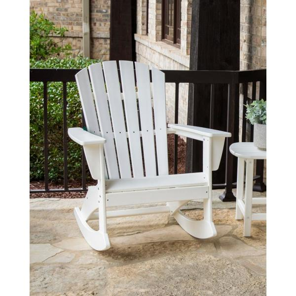 Polywood Grant Park Plastic Patio Outdoor Adirondack Rocking Chair Adr440gy The Home Depot