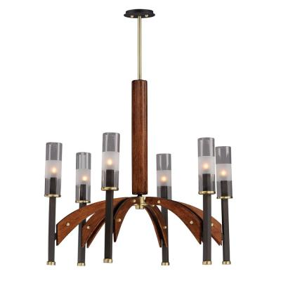 Maxim Lighting Merge 29 in. W 6-Light Bronze/Antique Pecan Chandelier with Clear Shade