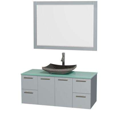 Amare 48 in. W x 21.75 in. D Vanity in Dove Gray with Glass Vanity Top in Green with Black Basin and 46 in. Mirror