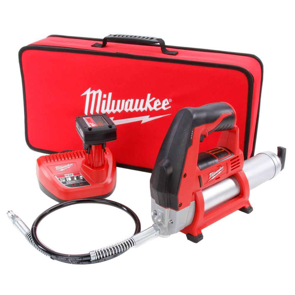 Milwaukee M12 12-Volt Lithium-Ion Cordless Grease Gun XC Kit