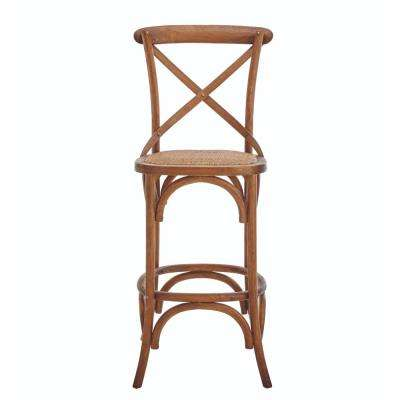 Hyde Cafe 30 in. Brown Bar Stool with Cane Seat