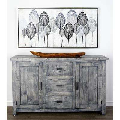 Gray Rectangular Sideboard With 2 Doors And 3 Drawers