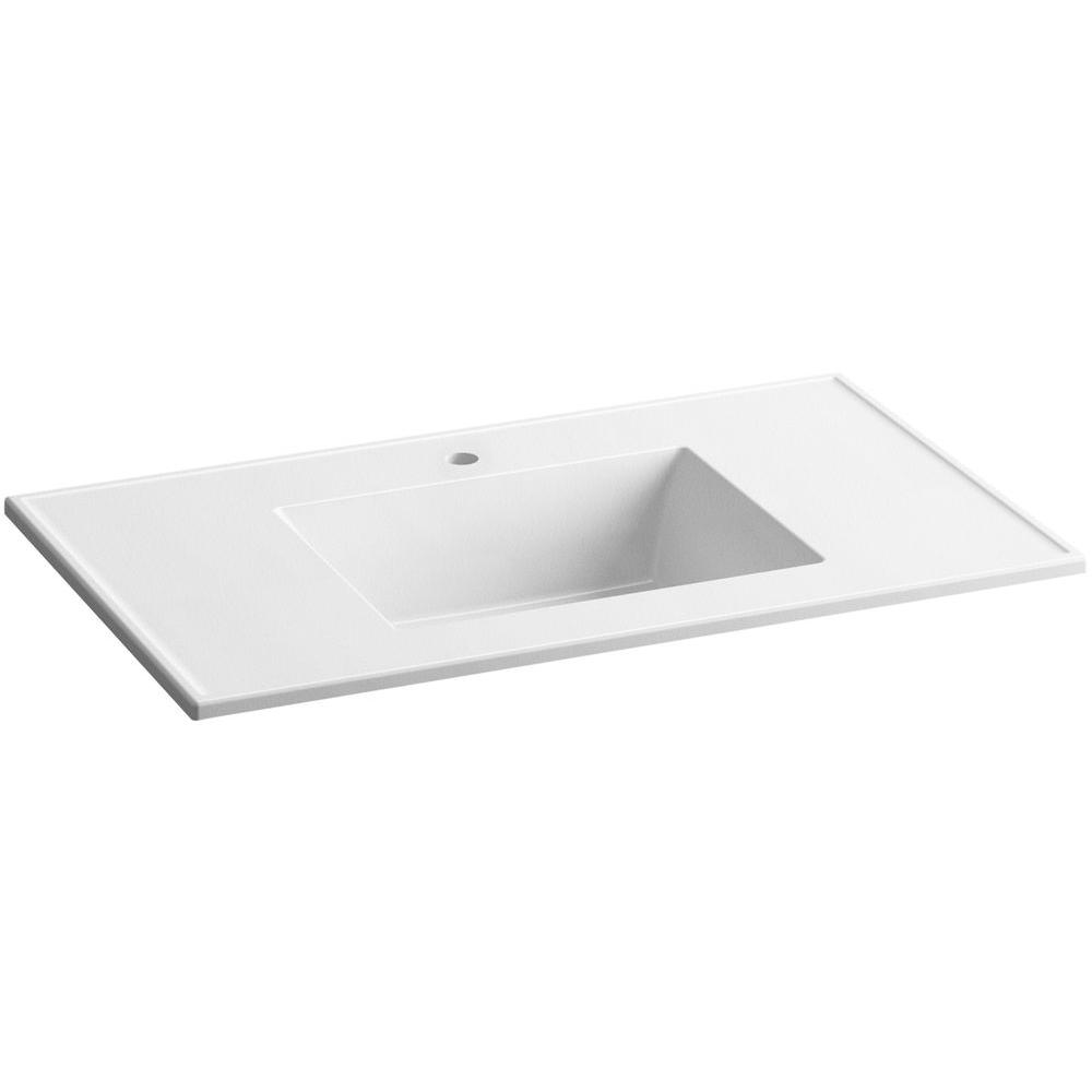 Reviews For Kohler Ceramic Impressions 37 In Single Faucet Hole Vitreous China Vanity Top With Basin In White Impressions K 2781 1 G81 The Home Depot