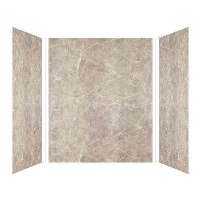 Expressions 48 in. x 60 in. x 72 in. 3-Piece Easy Up Adhesive Alcove Shower Wall Surround in Dover Stone