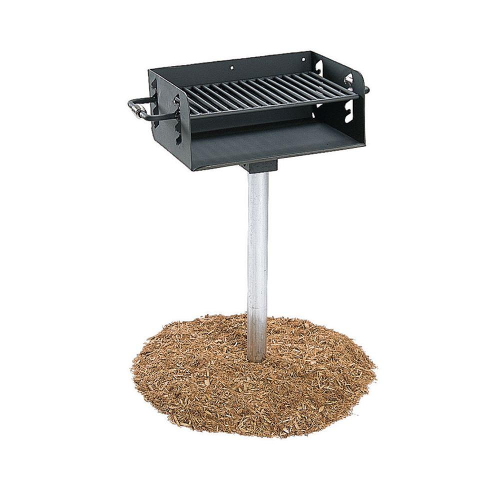 Ultra Play 3-1/2 in. Rotating Pedestal Commercial Park Charcoal Grill with Post