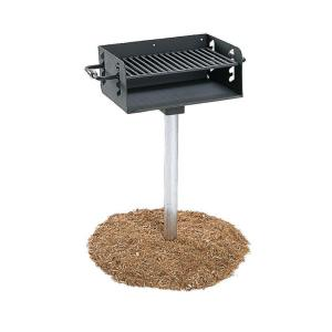 Ultra Play 3-1/2 inch Rotating Pedestal Commercial Park Charcoal Grill with Post by Ultra Play