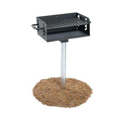 3-1/2 in. Rotating Pedestal Commercial Park Charcoal Grill with Post in Black