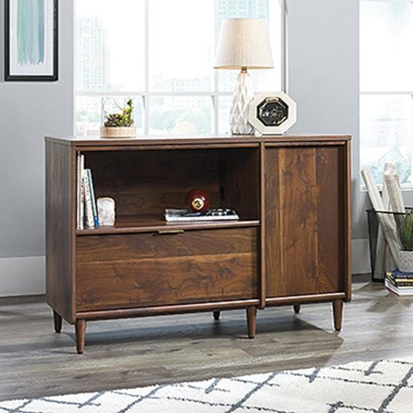 SAUDER Clifford Place Grand Walnut Entertainment Center and Credenza
