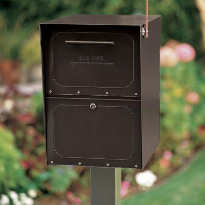 Oasis Post-Mount or Column-Mount Locking Mailbox in Black with Outgoing Mail Indicator