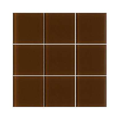 VitraArt Tranquil Mahogany 4 in. x 4 in. Glass Wall Tile (6 sq. ft. / case)