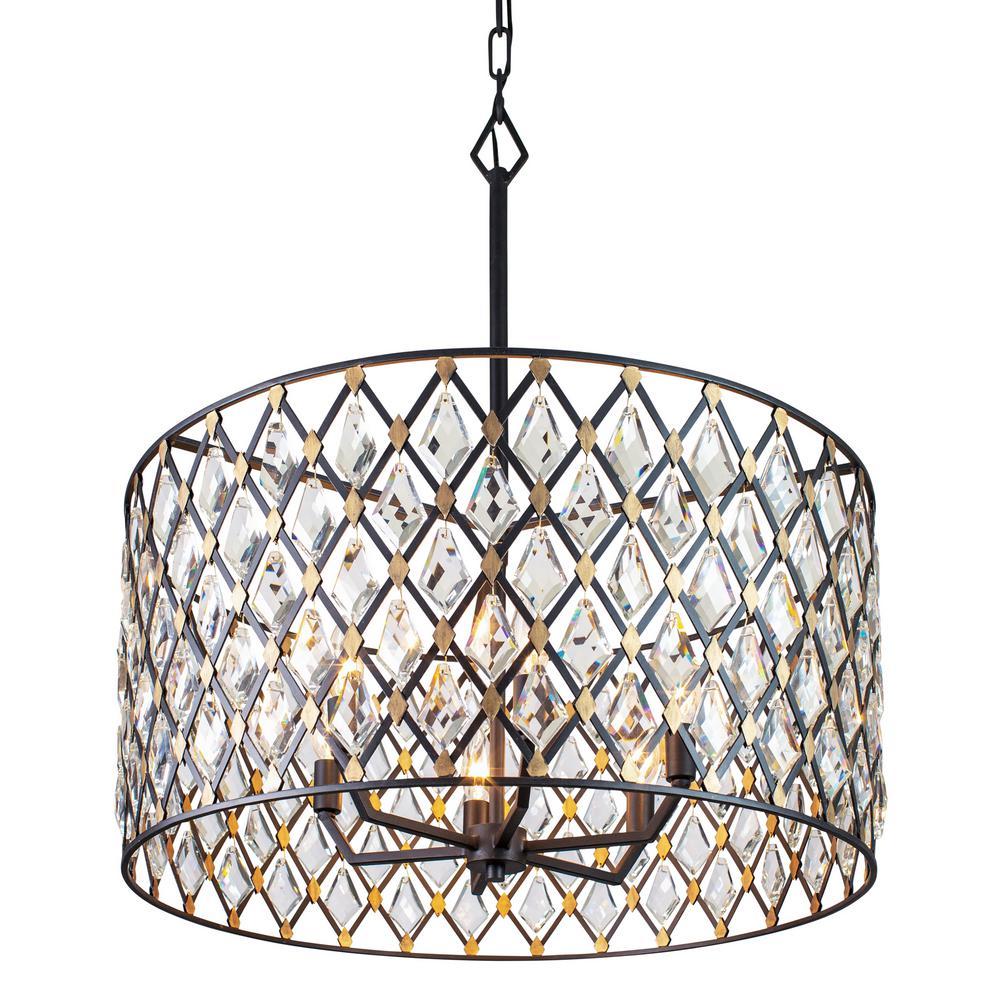 Windsor 6-Light Carbon/Havana Gold Drum Pendant with Heirloom-Quality Optic Crystal