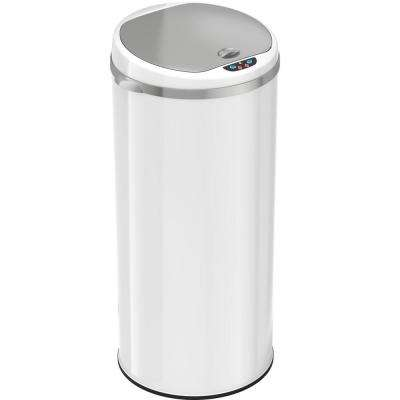 Matte Finish Pearl White Touchless Round Sensor Trash Can