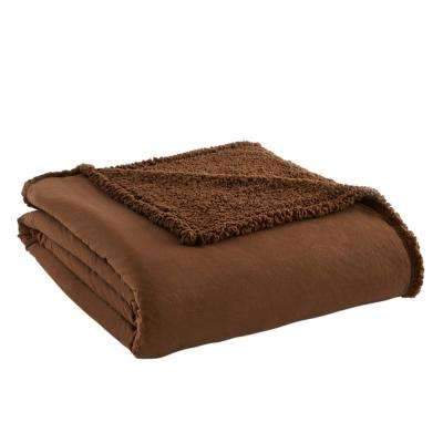 Chocolate Sherpa Back Polyester Queen Blanket