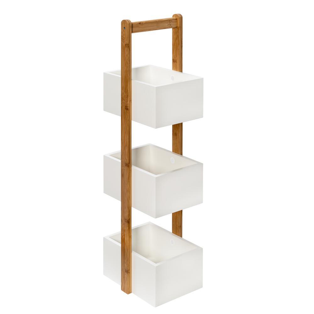 3 - Tier Bamboo White Storage Caddy