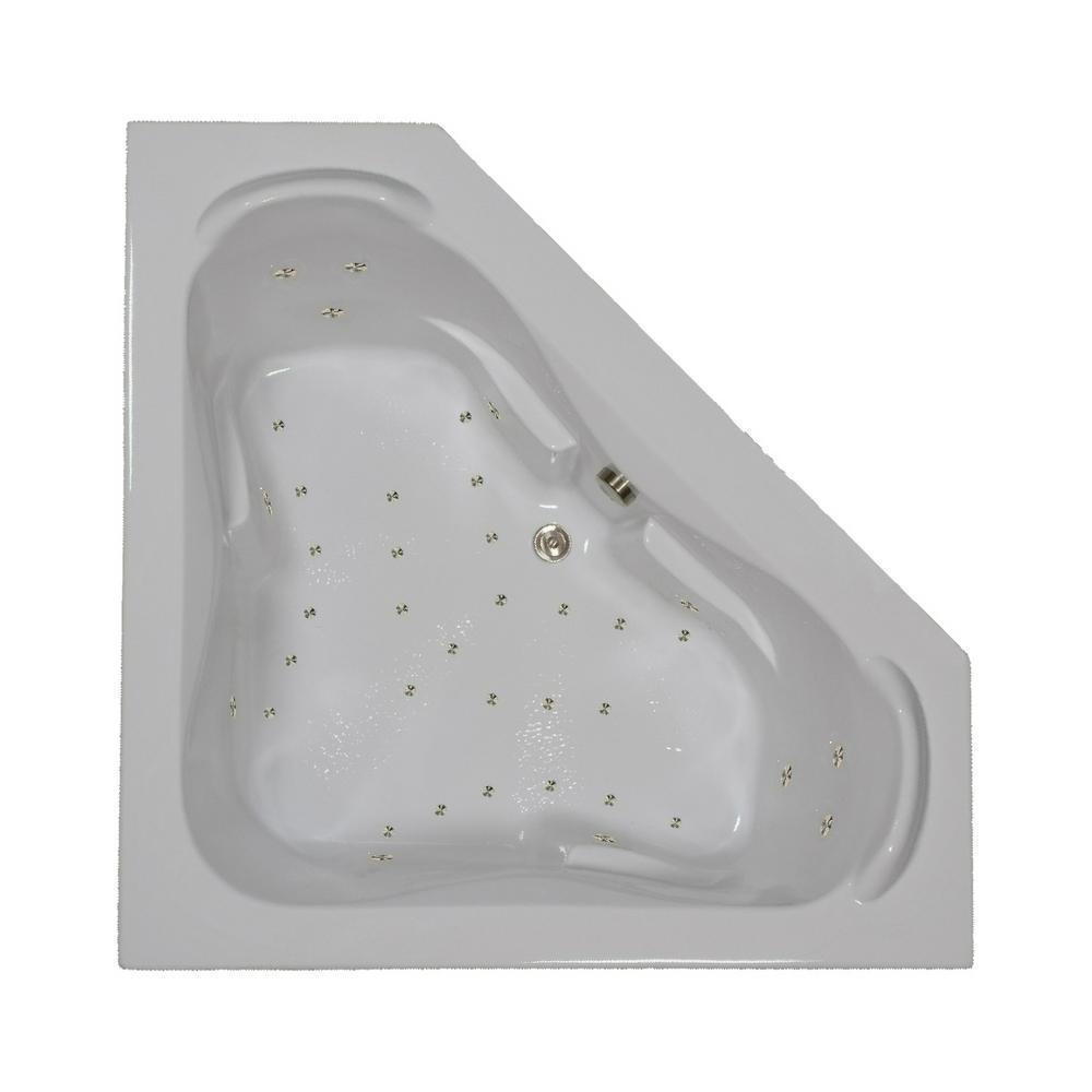 60 in. Corner Drop-in Air Bathtub in Biscuit