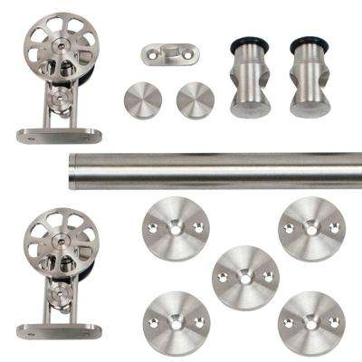 96 in. Stainless Steel Top Mount Spoke Wheel Rolling Door Hardware Kit for Wood Doors