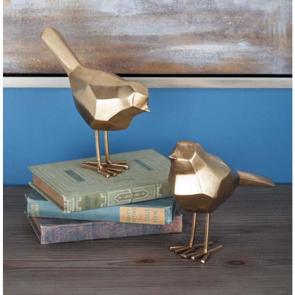 CosmoLiving by Cosmopolitan Geometric Bird Decorative Sculptures in Gold (Set of