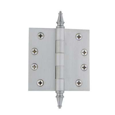 4 in. Steeple Tip Heavy-Duty Hinge with Square Corners in Satin Nickel