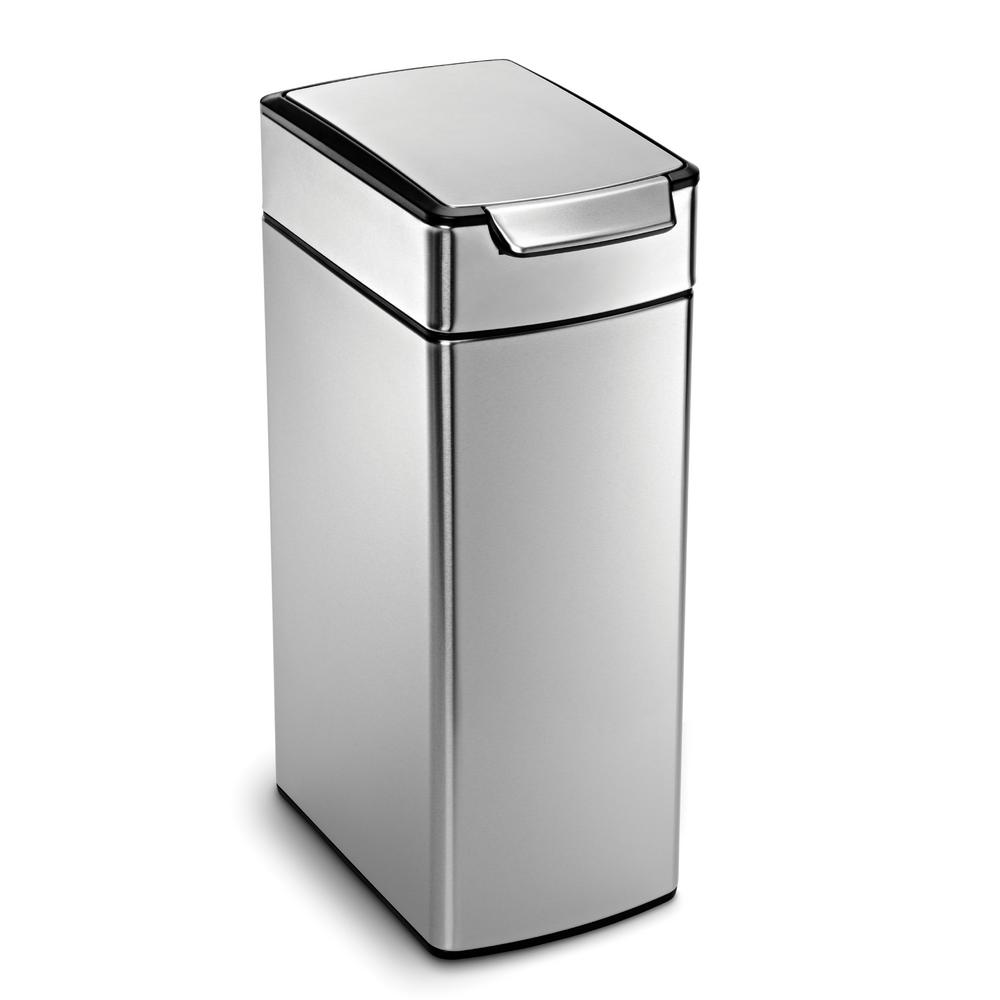 Great 40 Liter Fingerprint Proof Brushed Stainless Steel Slim Touch Bar Trash Can