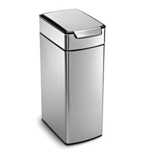 40liter brushed stainless steel slim touch bar trash can